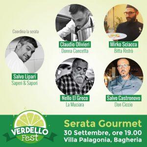 Verdello Fest a Bagheria - Serata Gourmet 30 settembre 2018, coordinata dallo chef Salvo Lipari